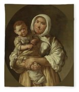 A Peasant Mother With Her Child In Her Arms Fleece Blanket