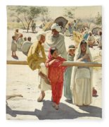 A Peep At The Train, India, 1892 Fleece Blanket