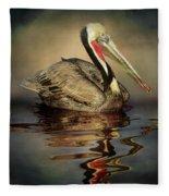 A Pelican And His Reflection Fleece Blanket
