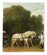 A Phaeton With A Pair Of Cream Ponies In The Charge Of A Stable-lad Fleece Blanket