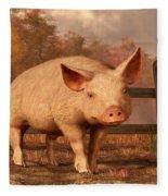 A Pig In Autumn Fleece Blanket