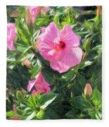 A Pink Hibiscus Fleece Blanket
