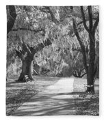 A Place For Contemplation - Black And White Fleece Blanket