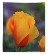 A Poppy Furled  Fleece Blanket
