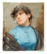 A Portrait Of A Young Woman In A Blue Dress Fleece Blanket