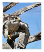 A Prairie Falcon Against A Blue Sky Fleece Blanket