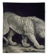 A Prowling Tiger Fleece Blanket