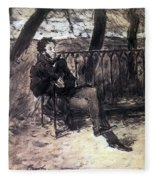 A Pushkin On A Garden Bench 1899 Valentin Serov Fleece Blanket