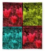 A Quadruple Of Tulips Fleece Blanket