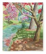 A Quiet Stroll In The Japanese Gardens Of Gibbs Gardens Fleece Blanket