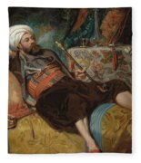 A Reclining Turk Smoking A Hookah, 1844 Fleece Blanket