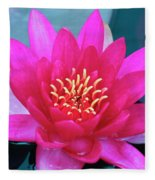 A Red And Yellow Water Lily Flower Fleece Blanket