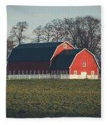 A Red Barn Fleece Blanket
