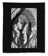 A Red Indian Girl Fleece Blanket