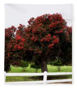 A Red Pin Under A Red Tree At Morro Bay Golf Course Fleece Blanket