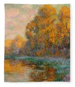 A River In Autumn Fleece Blanket