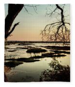 A River Sunset In Botswana Fleece Blanket