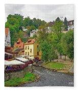 A Riverside Cafe Along The Vltava River In The Czech Republic Fleece Blanket