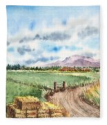 A Road To The Mountain Fleece Blanket