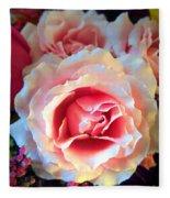 A Romantic Pink Rose Fleece Blanket