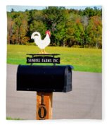 A Rooster Above A Mailbox 3 Fleece Blanket