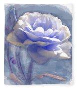 A Rose In Pastel Blue Fleece Blanket
