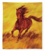 A Running Horse Fleece Blanket