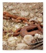A Rusty Chain And Hook Fleece Blanket