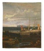 A Scene On The English Coast Fleece Blanket