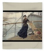 A Scottish Lady On A Boat Arriving In New York Henry Bacon Fleece Blanket