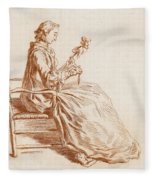 A Seated Woman Fleece Blanket