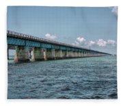 A Section Of The Original Seven Mile Bridge Fleece Blanket