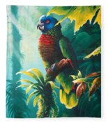 A Shady Spot - St. Lucia Parrot Fleece Blanket
