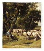 A Shepherd And His Flock Fleece Blanket
