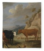 A Shepherd With His Flock In A Landscape With Ruins Fleece Blanket