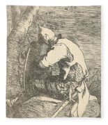 A Sleeping Warrior Seated On A Rock And Leaning On His Shield Fleece Blanket
