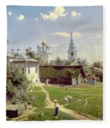 A Small Yard In Moscow Fleece Blanket