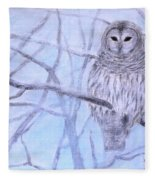 A Barred Owl Fleece Blanket