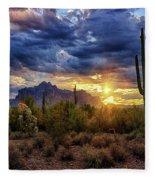 A Sonoran Desert Sunrise - Square Fleece Blanket