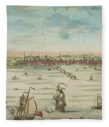 A South East View Of The Great Town Of Boston In New England In America, 1730 Fleece Blanket