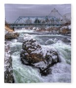 A Spokane Falls Winter Fleece Blanket