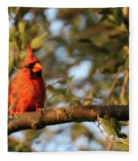 A Spot Of Red In The Trees Fleece Blanket