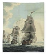 A Squadron Of The Royal Navy Running Down The Channel And An East Indiaman Preparing To Sail Fleece Blanket