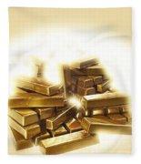 A Stack Of Gold Bullion  Fleece Blanket