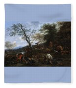 A Stag Hunt Nicolaes Claes Pietersz Berchem Fleece Blanket