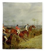 A Steeplechase - Taking A Hedge And Ditch  Fleece Blanket