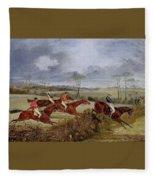 A Steeplechase - Near The Finish Henry Thomas Alken Fleece Blanket