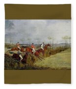 A Steeplechase - Taking A Hedge And Ditch Henry Thomas Alken Fleece Blanket