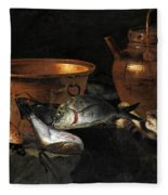 A Still Life Of Fish With Copper Pans And A Cat  Fleece Blanket
