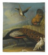 A Still Life With A Peacock, Pigeons And Chickens In A River Landscape Fleece Blanket